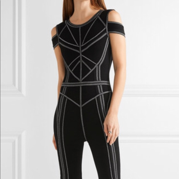 aaea1a2a06ab Herve Leger Izabella Black Bandage Jumpsuit NWT S